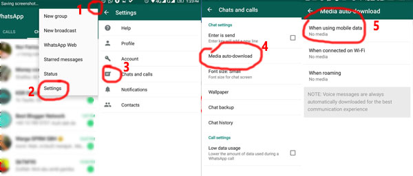 setting data for whatsapp saving data