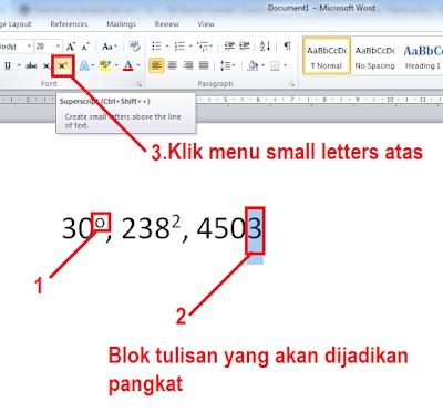 Cara Membuat Pangkat Kuadrat, Meter Persegi dan Derajat Di Microsoft Office 2010