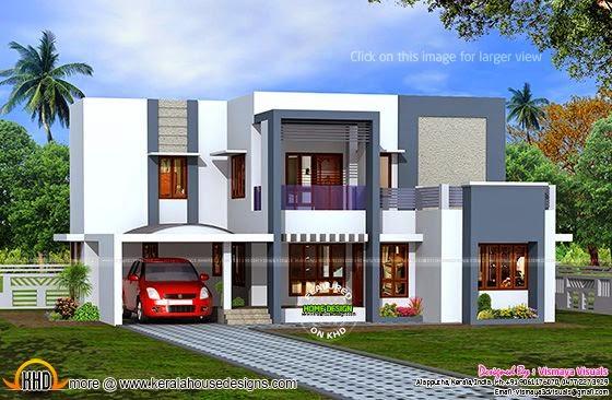 Flat roof house in Kerala