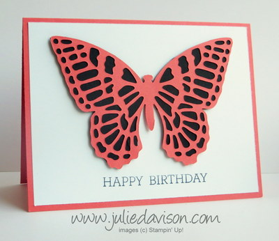 2015 Occasions Catalog Sneak Peek: Butterflies Thinlit Die cut Birthday Card #stampinup www.juliedavison.com