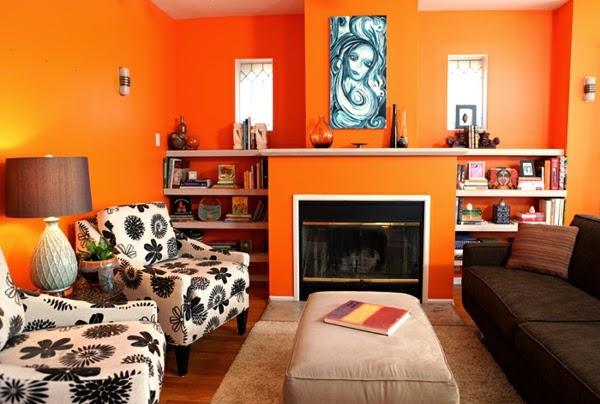 sala en naranja y marrón