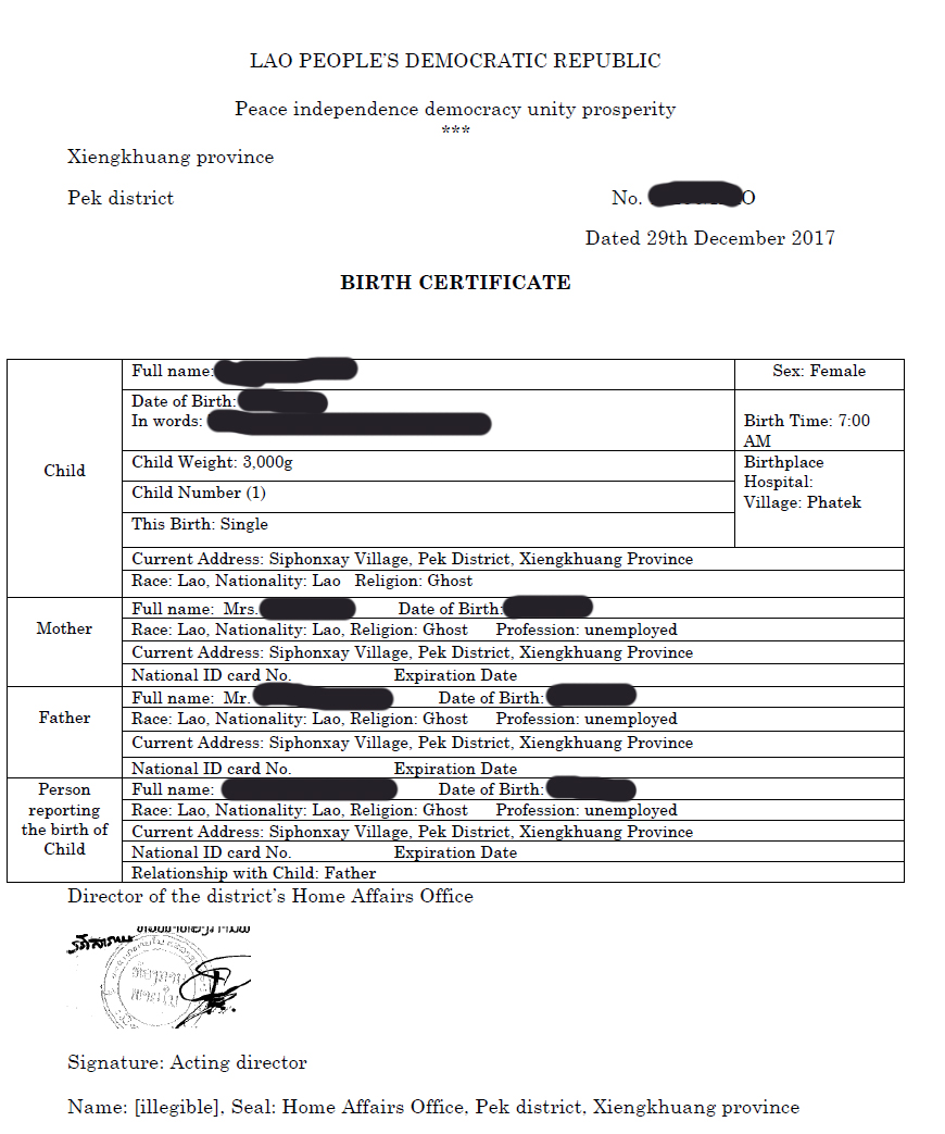 Lao Birth Certificate Sample English Translated Lao Linguistic