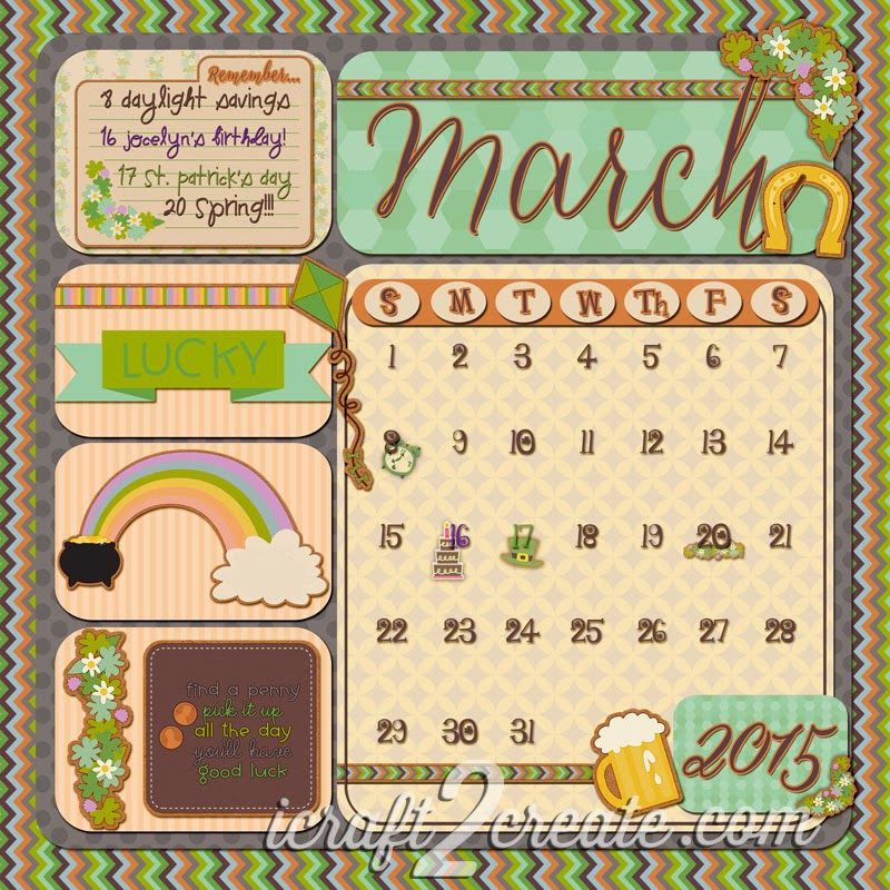 Digital, Photoshop, Lettering Delights, Calendar, March, 2015
