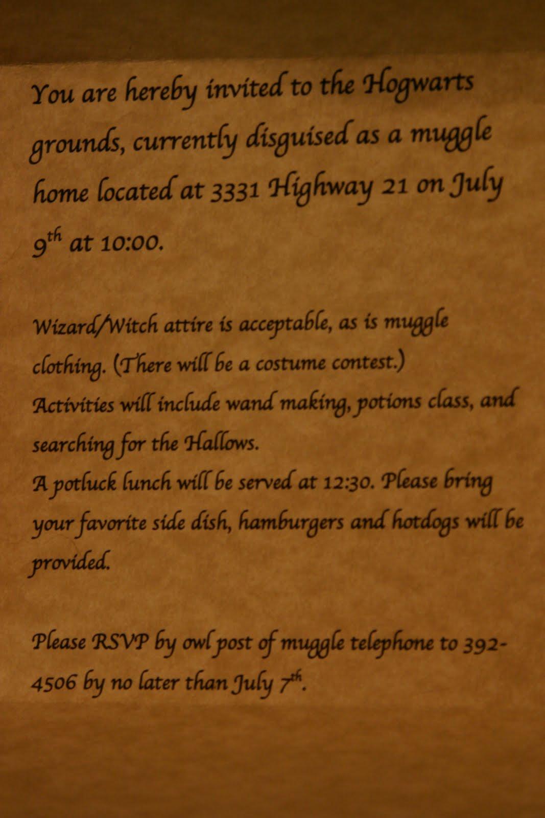 Naphtali S Melody Harry Potter Invitations