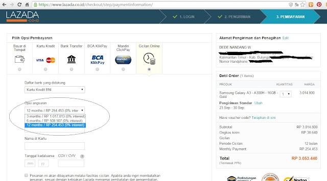 Sekarang Sudah Ada Cicilan Online 0% dari Situs Lazada.co.id
