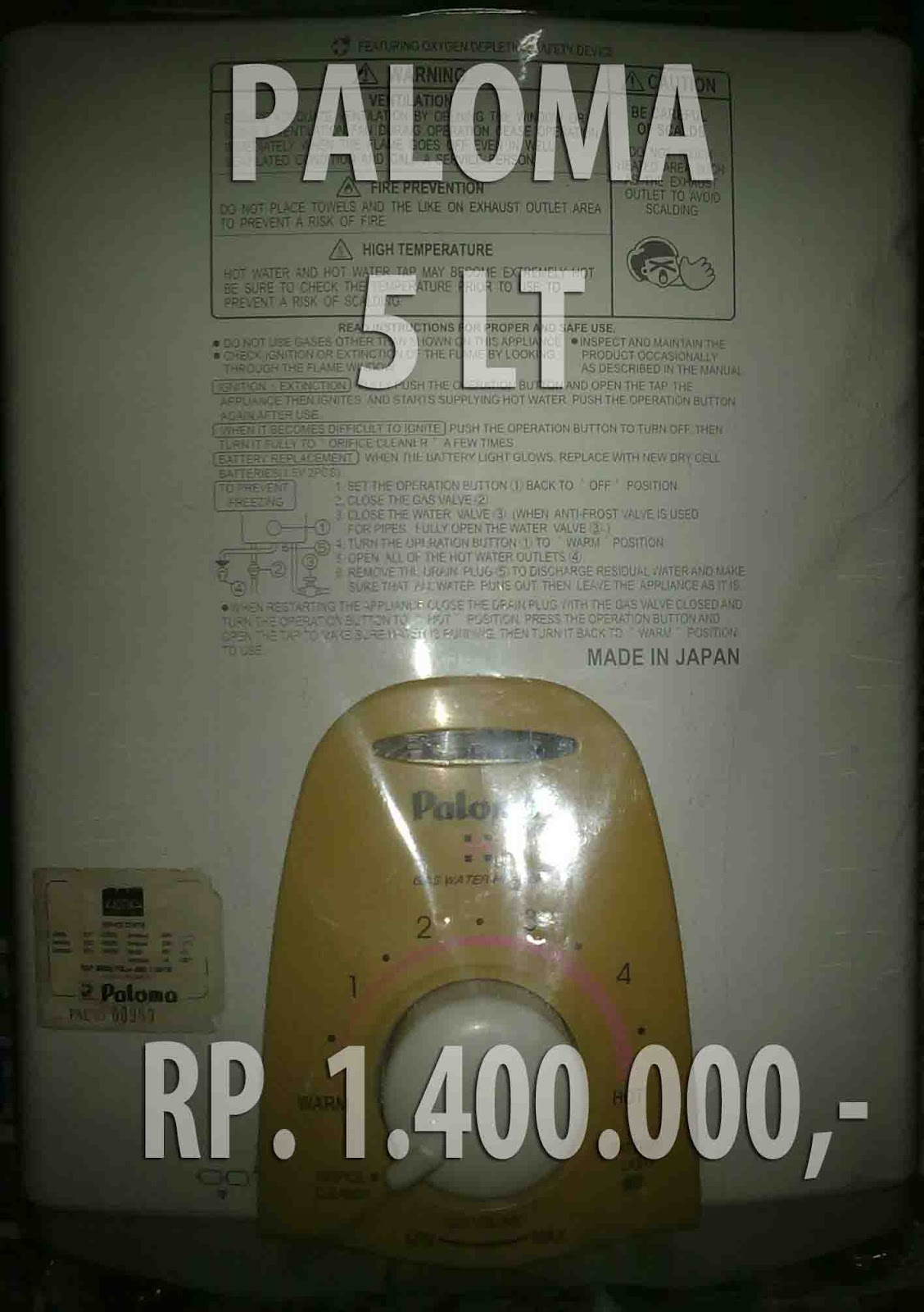 Jual Water Heater Paloma Brown
