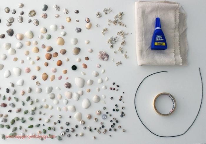 Corona de Conchas DIY