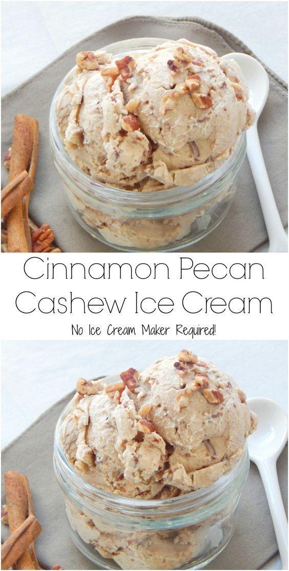 Cinnamon Pecan Cashew Ice Cream (No Ice Cream Maker Required!)