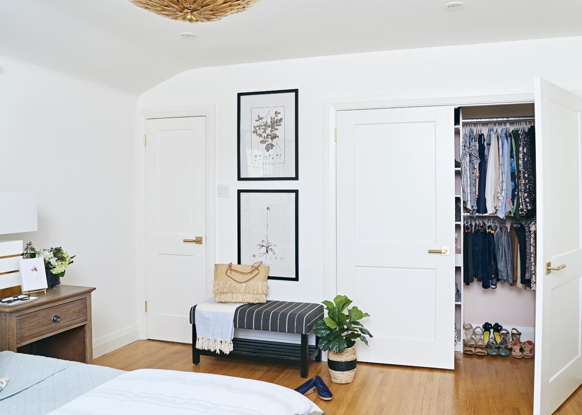 calm neutral master bedroom, Rambling Renovators, double closet door, Emtek Hercules lever
