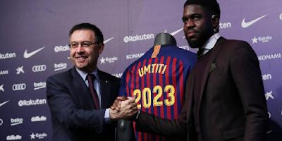 نادي برشلونة يمدد عقد اومتيتي  بشرط جزائي  فلكي ب 500 مليون يورو
