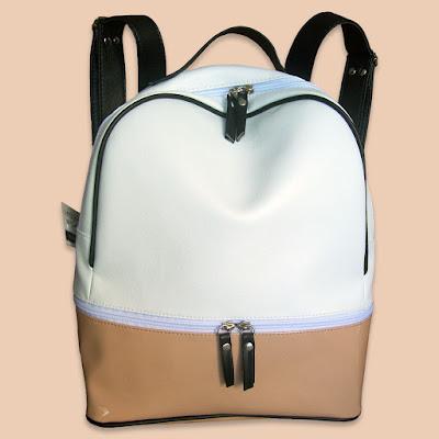 Mochila Zipper XL Combinada Blanco Negro Nude