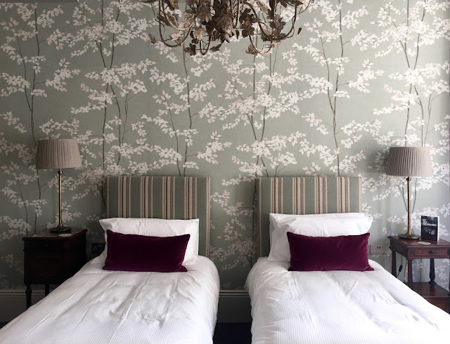 gorgeous wallpaper and beds at The High Field townhouse in edgbaston