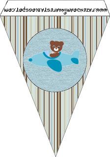 Banderines de Osito Aviador para imprimir gratis.