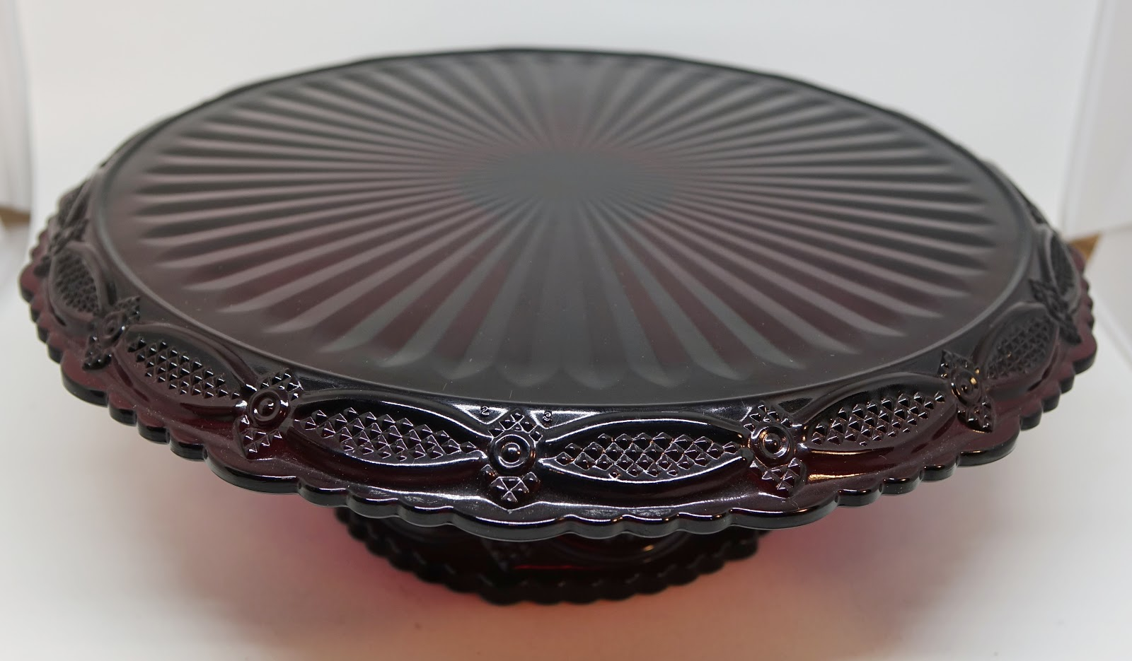 Vintage Cake Stand Avon Cape Cod Ruby Red Glass Pedestal