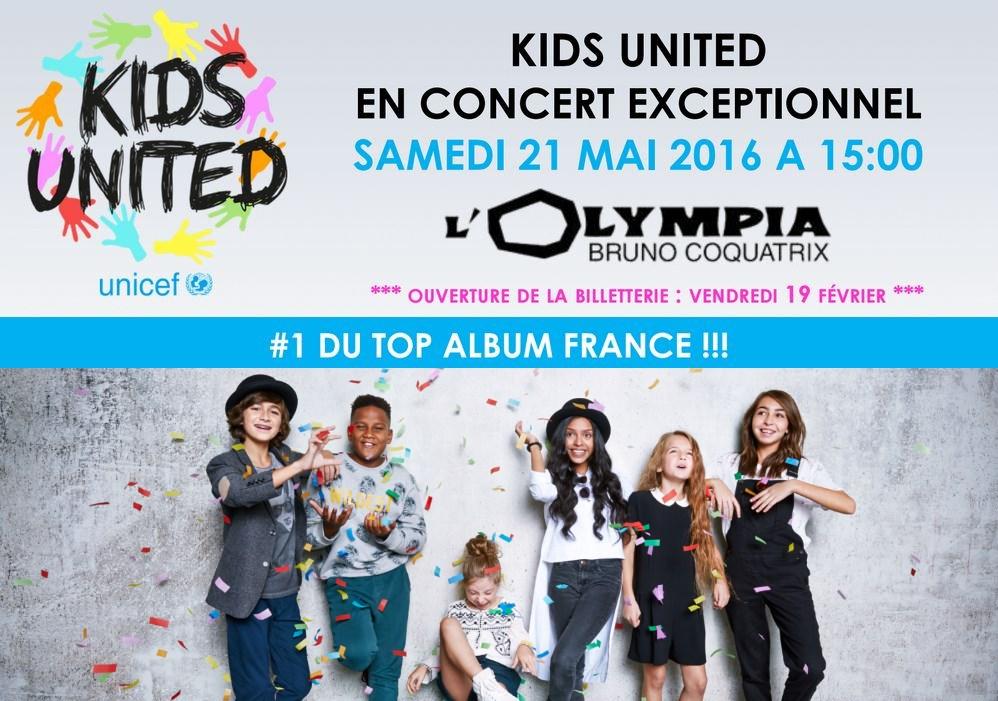 KIDS UNITED en concert exceptionnel à l'Olympia