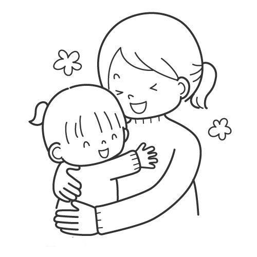 Tranh tô màu mẹ ôm em bé