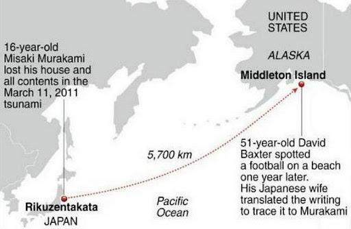 Misaki Murakami's ball that swept away by last year's tsunami found more than 3,000 miles away