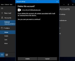 Cara Menghapus Akun Email di windows 10