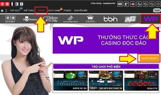 Lựa chọn chơi Baccarat từ thanh Casino ở trang chủ.
