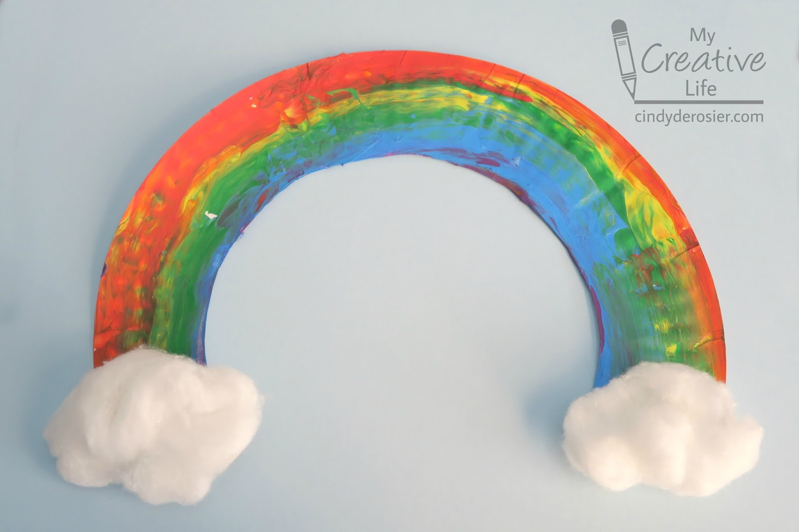 Hang your rainbow with fishing line tape it to the wall or display it in a window. & Cindy deRosier: My Creative Life: u0027Hand-Paintedu0027 Paper Plate Rainbow