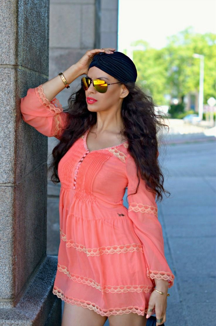 H&M gladiator sandals,summer outfit,Jacky Luxury dress,Yellow mirrored sunglasses,black turban,trendy