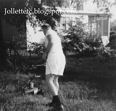 Fred Slade cutting grass http://jollettetc.blogspot.com