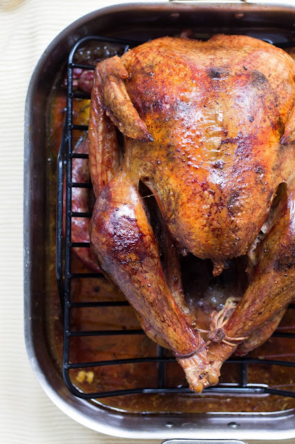 Roasted turkey in a baking tray