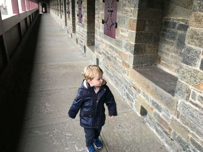 toddle-walking-along-walkway-at-the-top-of-the-wall-at-cardiff-castle