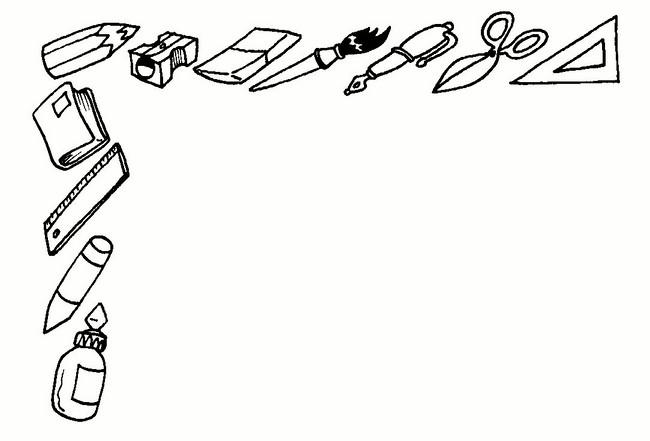 Dibujos Infantiles Escolares Para Colorear: Marcos Escolares En Blanco Y Negro