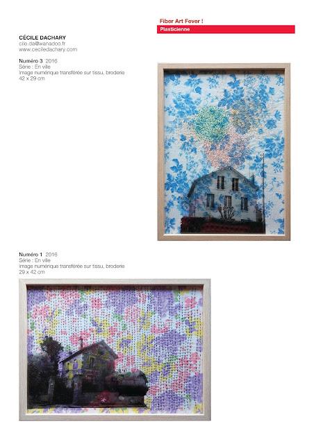 broderie contemporaine, art avec maisons