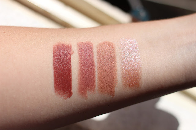 Bite Beauty Multistick Swatches L to R: Almond, Cashew, Blondie, Oyster Pearl