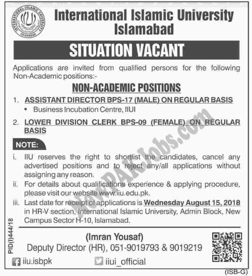 International Islamic University Latest Jobs