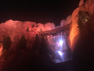 Radiator Springs Waterfall Night Cars Land