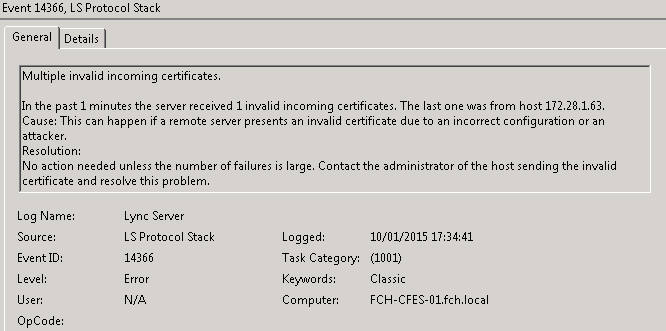 Multiple invalid incoming certificates. In the past 1 minutes the server received 1 invalid incoming certificates. The last one was from host 172.28.1.63.Cause: This can happen if a remote server presents an invalid certificate due to an incorrect configuration or an attacker.Resolution:No action needed unless the number of failures is large. Contact the administrator of the host sending the invalid certificate and resolve this problem.