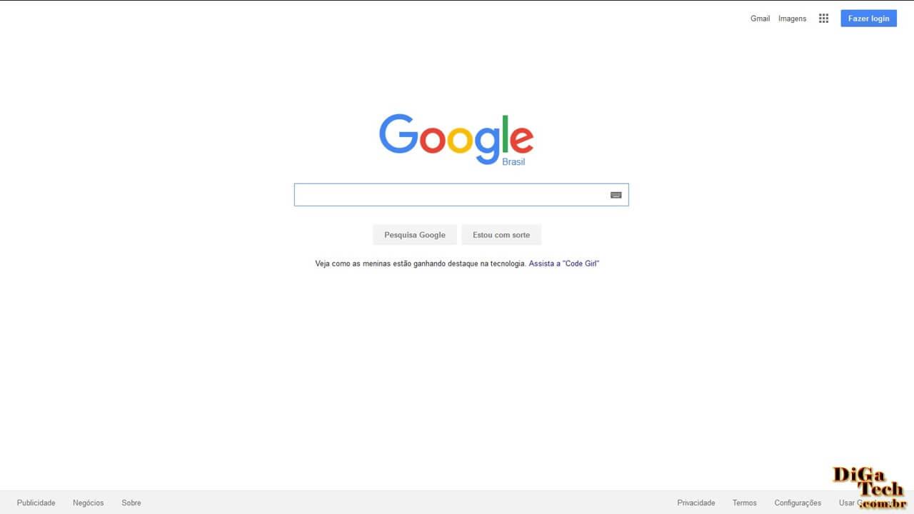 Página inicial Google