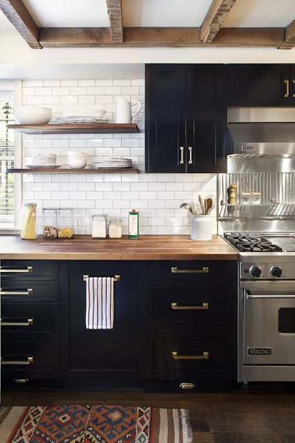 Black Kitchen Cabinets with white countertops and butcher block counters :: OrganizingMadeFun.com
