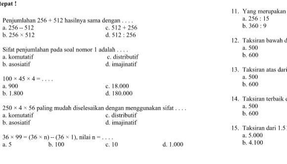 Latihan Soal UTS SD Kelas 4 Semester Ganjil Matematika