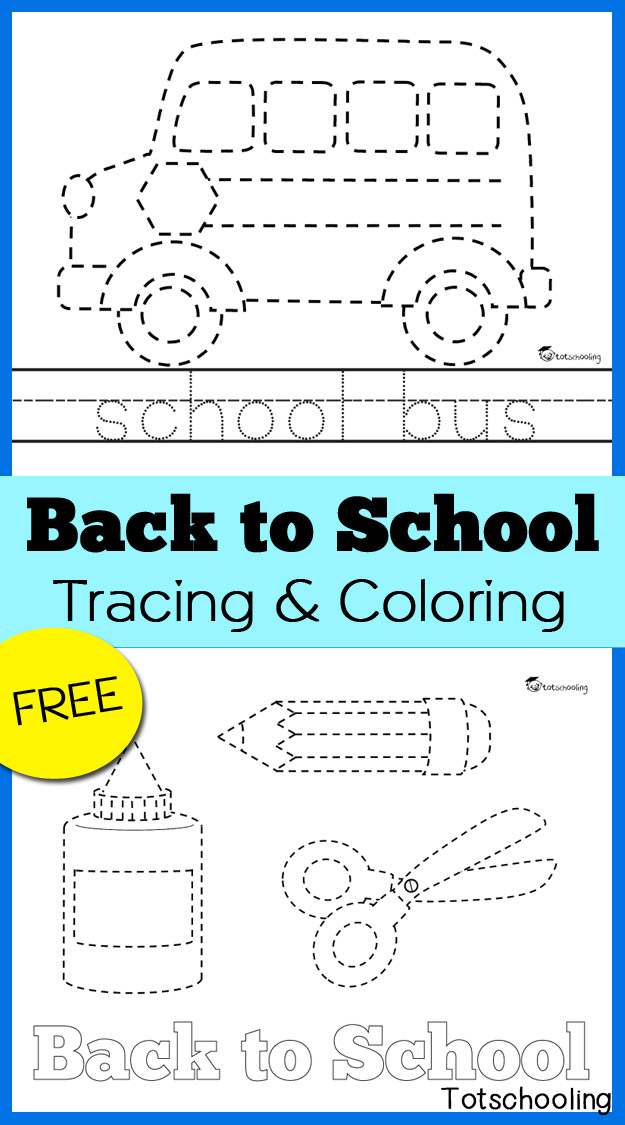 FREE printable Tracing and Coloring worksheets with a Back to School theme.Different versions included for preschool and kindergarten kids, tracing pictures as well as words. Great fine motor and handwriting practice!