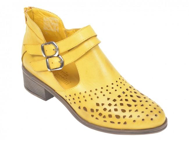 Pantofi de vara tip botina FLAVIA PASSINI galbeni, din piele naturala