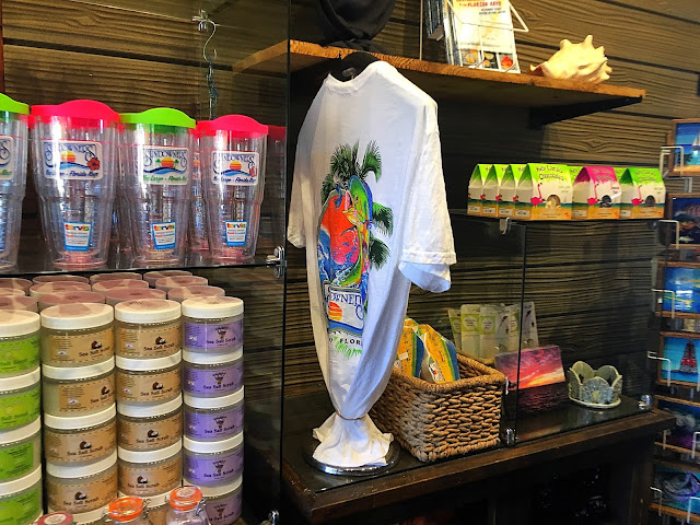 A small gift shop with cups, shirts and assorted souvenirs can be found inside the restaurant.