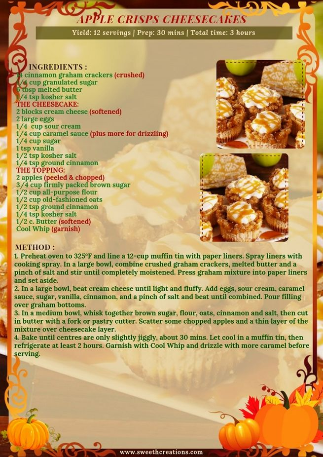 APPLE CRISPS CHEESECAKES RECIPE