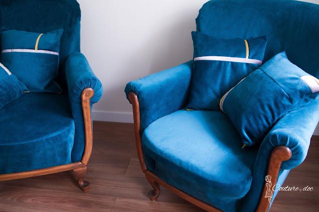 poduszki, welur, plusz, turkus, fotele, handmade