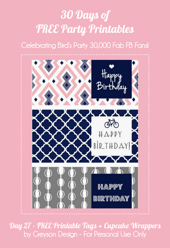 Free Printable Gift Tags and Birthday Cupcake Wrappers - via BirdsParty.com