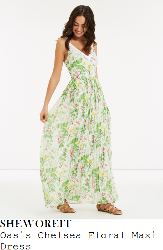 vicky-pattison-oasis-white-green-yellow-and-pink-chelsea-garden-floral-print-sleeveless-v-neck-high-waisted-pleated-maxi-dress
