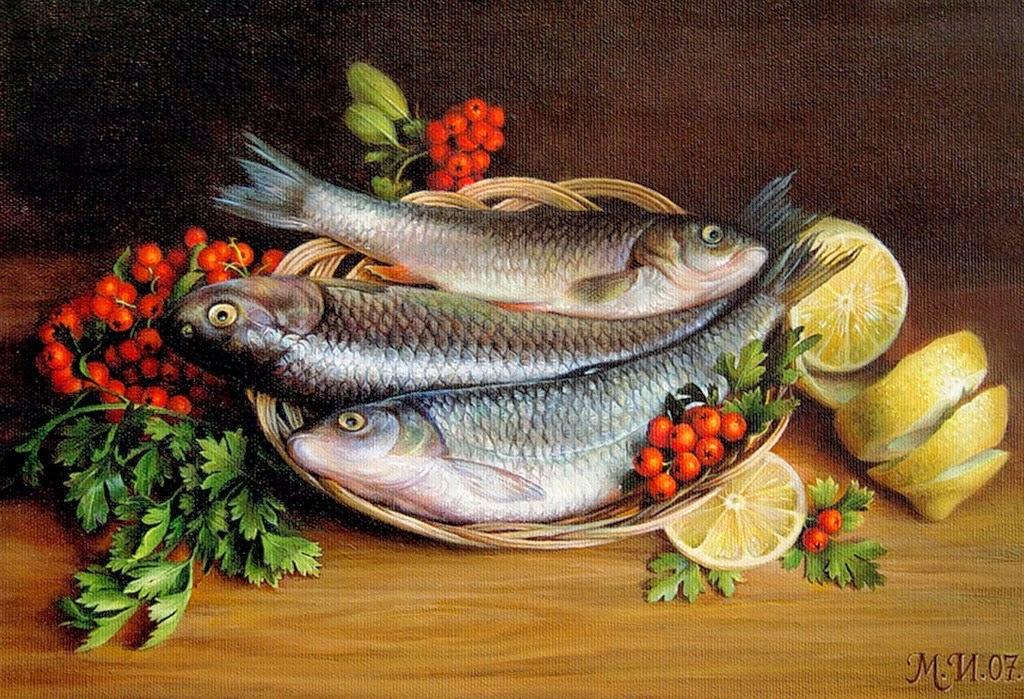 Cuadros modernos pinturas y dibujos realismo bodegones for Cuadros de peces