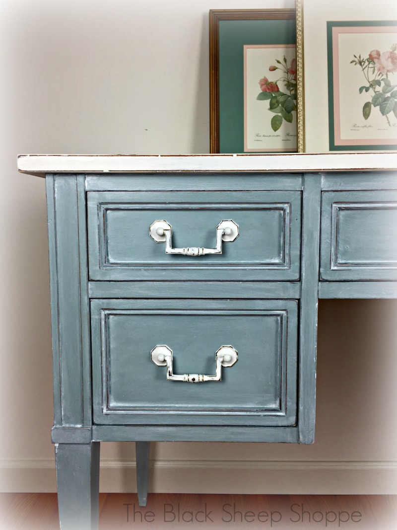 Winter white glaze over Duck Egg blue chalk paint.