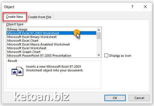 Chèn nhanh bảng tính excel vào file word