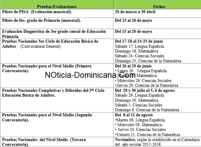 Calendario oficial de las pruebas nacionales de 2017