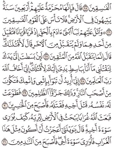 Tafsir Surat Al-Maidah Ayat 26, 27, 28, 29, 30