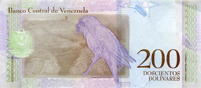 Venezuela Currency 200 Bolivares Soberanos banknote 2018 Military macaw - Ara militaris